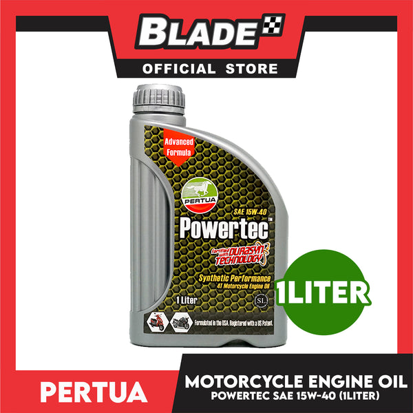 Pertua Powertec 4T Motorcycle Engine Oil SAE 15W-40 1L Synthetic Performance Fortified with Durasyn Technology