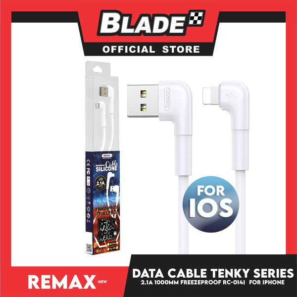 Remax Data Cable Tenky Series Silicone Cable 2.1A 1000mm RC-014i for iPhone (White) Compatible with iPhone Xs Max/XR/X/8/8 Plus/7/7+/6/6S Plus/5S/5 & iPad Series