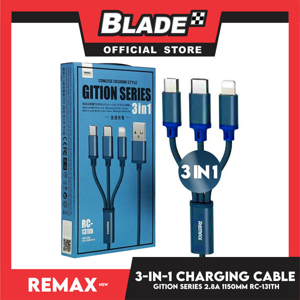 Remax Data Cable Gition Series RC-131th 3in1 Charging Cable Micro,Type-C & iPhone (Blue) Suitable for Mobile phone, Smart Phone, Tablet, iPhone, iPad Series & More