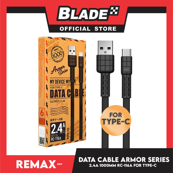 Remax Data Cable Armor Series 2.4A 1000mm RC-116a for Type-C (Black) Compatible with Samsung S20+ S10 Note 10 iPad Pro MacBook Pro Google Pixel