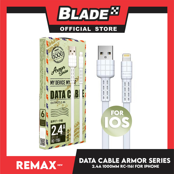 Remax Data Cable Armor Series 2.4A 1000mm RC-116i for iPhone (White) Compatible with iPhone Xs Max/XR/X/8/8 Plus/7/7+/6/6S Plus/5S/5 & iPad Series