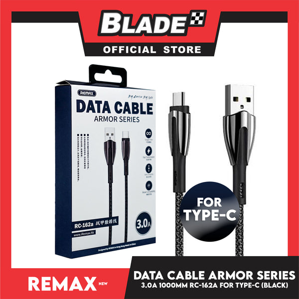 Remax Data Cable Armor Series 3.0A 1000mm RC-162a for Type-C (Black) Compatible with Samsung S20+ S10 Note 10 iPad Pro MacBook Pro Google Pixel