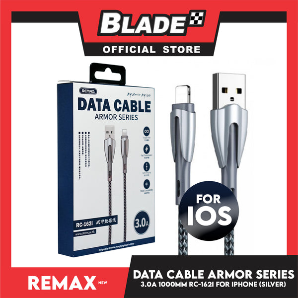 Remax Data Cable Armor Series 3.0A 1000mm RC-162i for iPhone (White) Compatible with iPhone Xs Max/XR/X/8/8 Plus/7/7+/6/6S Plus/5S/5 & iPad Series