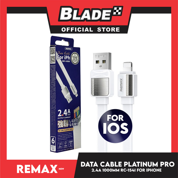 Remax Data Cable Plastic Shell 2.4A 1000mm RC-154i for iPhone (White) Compatible with iPhone Xs Max/XR/X/8/8 Plus/7/7+/6/6S Plus/5S/5 & iPad Series