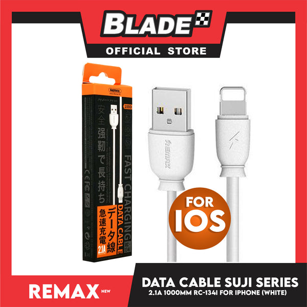 Remax Data Cable SWI Series 2.1A 1000mm RC-134i for iPhone (White) Compatible with iPhone Xs Max/XR/X/8/8 Plus/7/7+/6/6S Plus/5S/5 & iPad Series