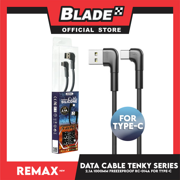 Remax Data Cable Tenky Series Silicone Cable 2.1A 1000mm RC-014a for Type-C (Black) Compatible with Samsung S20+ S10 Note 10 iPad Pro MacBook Pro Google Pixel