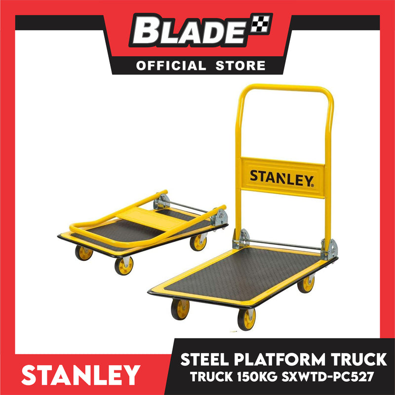 Stanley Steel Platform Truck PC-527 (150kg) Folding Trolley, Caddy, Push Cart, Hand Truck for Warehouse, Distribution and Delivery Use (Yellow)