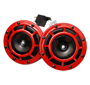 Hella Super Tone Horn with 5 Pin Relay Set of 2 (Black/Red)