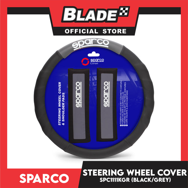 Sparco SPC1111KGR Steering Wheel Cover and Shoulder Pads for Toyota, Mitsubishi, Honda, Hyundai, Ford, Nissan, Suzuki, Isuzu, Kia, MG and more