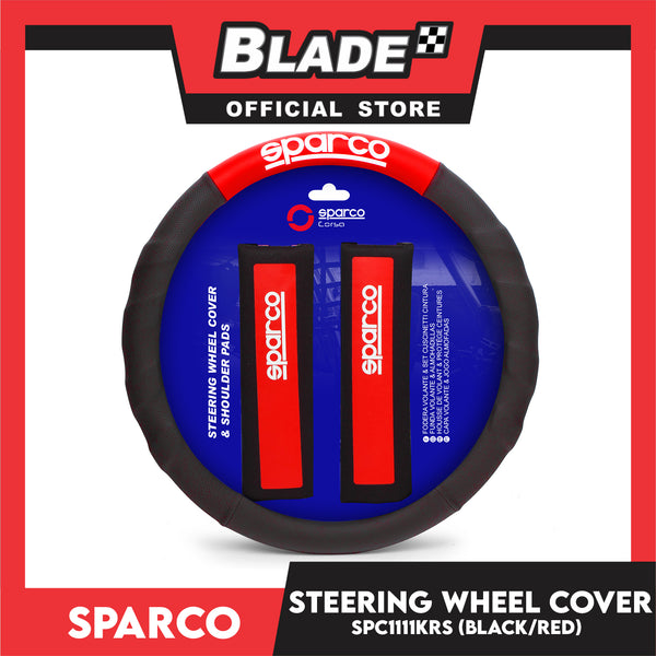 Sparco SPC1111KRS Steering Wheel Cover and Shoulder Pads for Toyota, Mitsubishi, Honda, Hyundai, Ford, Nissan, Suzuki, Isuzu, Kia, MG and more