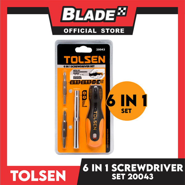 Tolsen 6 in 1 Screwdriver Set 20043 with 1pc Interchangeable Handle
