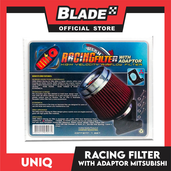 Uniq Racing Filter with Adaptor for Mitsubishi (Red)