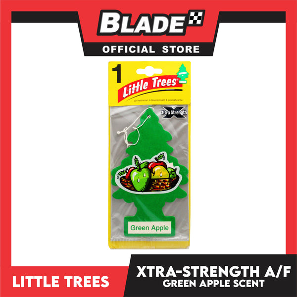 Little Trees Car Air Freshener X-tra Strength 10616 Green Apple - Little Hanging Tree Provides Long Lasting Scent for Auto or Home