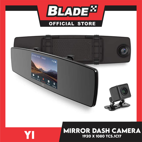 YI Mirror Dash Cam YCS.1C17- Dual Dashboard Camera Recorder with Touch Screen, Mobile APP, Front Rear View HD Camera, G Sensor, Reverse Monitor & Loop Recording