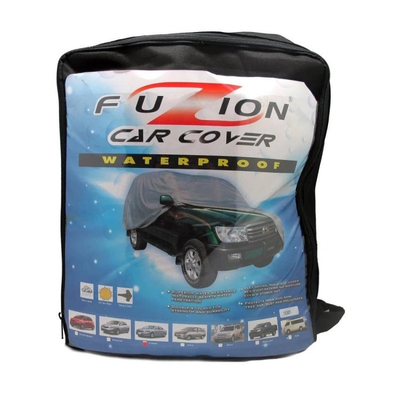 Fuzion Car Cover Waterproof Large FCC-300 (Grey) for Honda Civic, Accord, Hyundai Elantra, Toyota Altis, Camry BMW 5,7,9 Series