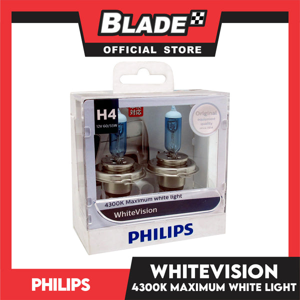Philips WhiteVision Headlight Bulb H4 12342WHV 12V 60/55W (Pair)