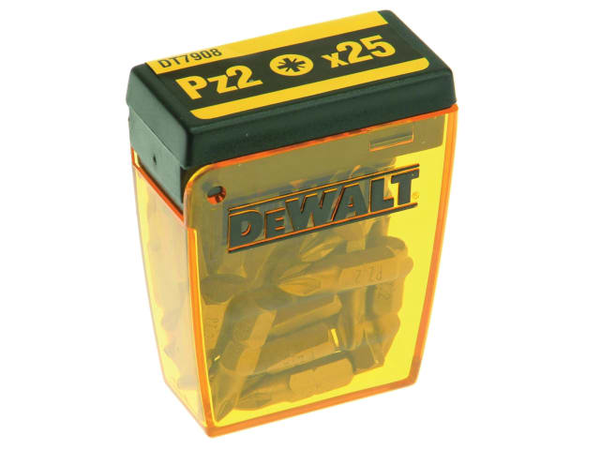 DEWDT7908QZ DT7908 Torsion Pozidrive Bits PZ2 25mm Flip Box of 25