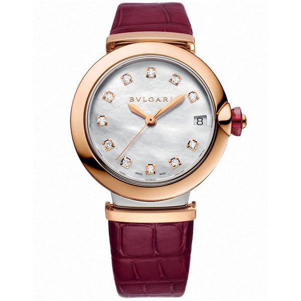 Bulgari Lucea 102639 LU33WSPLD Stainless Steel & Rose Gold 33MM On Strap MOP Dial Ladies Watch