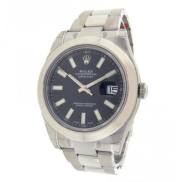 Rolex Datejust II 116300 Stainless Steel Automatic Black Dial Mens Watch - ChronoNation