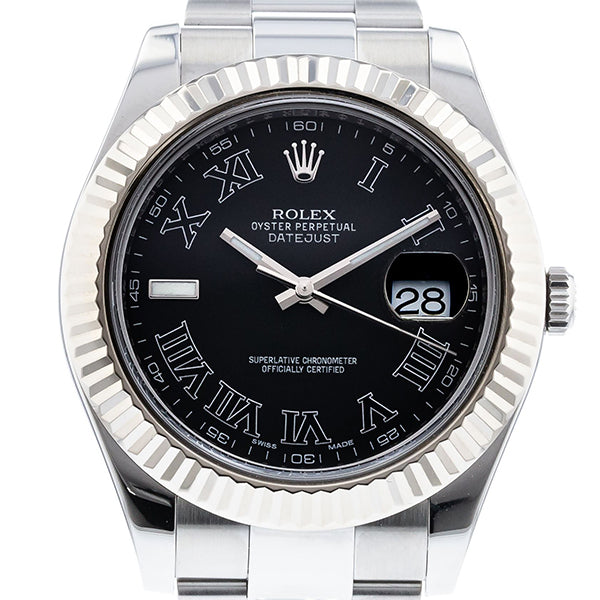 Rolex Datejust II 116334 Stainless Steel Black Roman Oyster Automatic Men's Watch