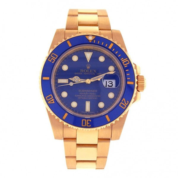 Rolex Submariner 18k Yellow Gold Automatic Men's Watch 116618LB