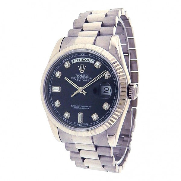 Rolex Day-Date President 118209 White Gold Automatic Diamonds Black Men's Watch