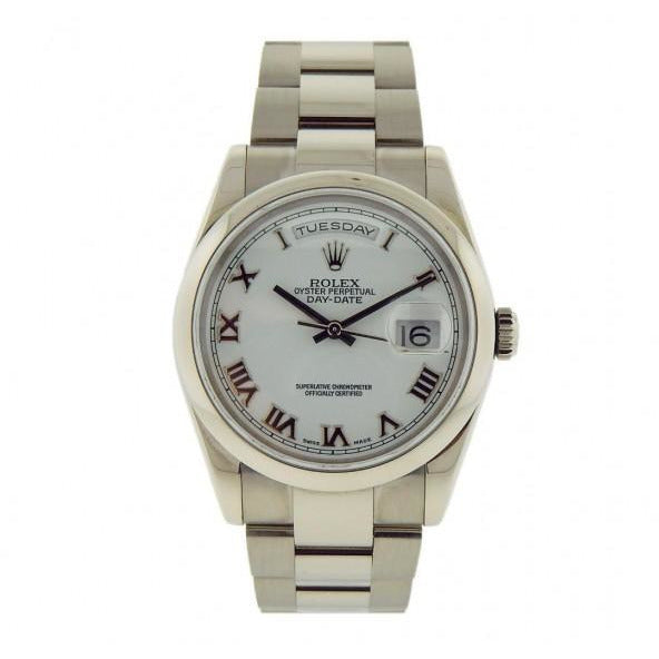 Rolex Day-Date 118209  18K White Gold Oyster Bracelet Roman Dial Watch