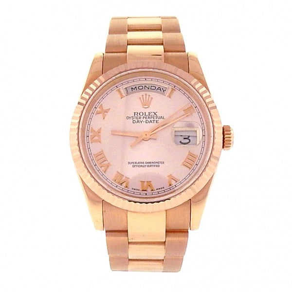 Rolex Day-Date 118235 18k Rose Gold Oyster Automatic Pink Men's Watch