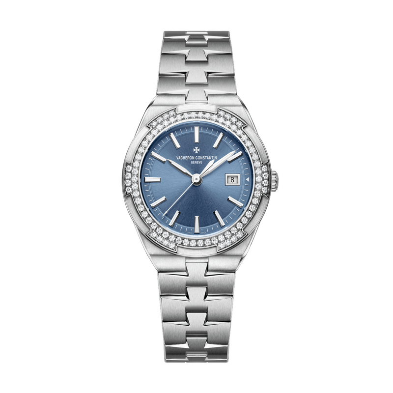 Vacheron Constantin Overseas Quartz 1205V/100A-B590 Stainless Steel Diamond Bezel Ladies Watch