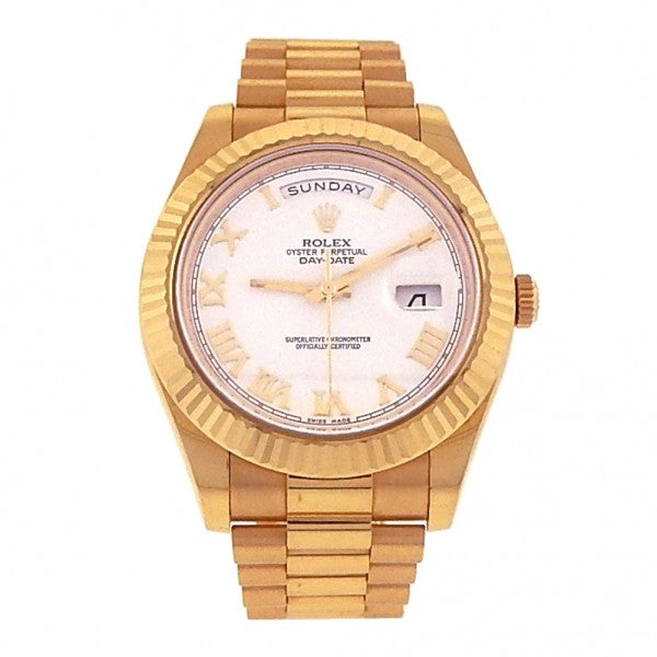Rolex Day-Date II President 218238 18k Yellow Gold Automatic White Men's Watch - ChronoNation