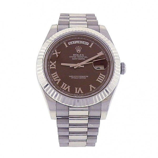 Rolex Day-Date II 218239 18k White Gold Automatic Brown Dial Men's Watch