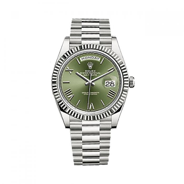Rolex Day-Date 40  228239 18k White Gold Automatic Green Roman Dial Men's Watch - ChronoNation