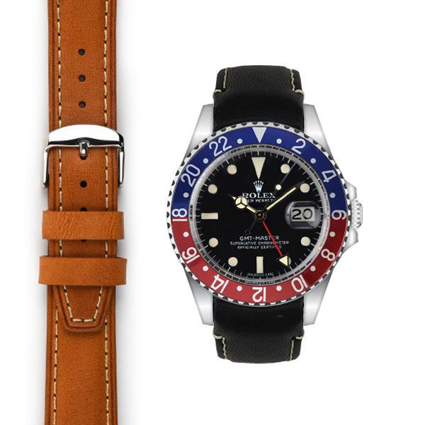 EVEREST CURVED END LEATHER STRAP FOR ROLEX GMT MASTER WITH TANG BUCKLE