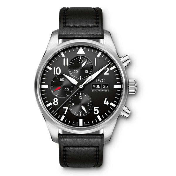 IWC Pilot Chrono IW377709 43mm Stainless Steel Black Dial Automatic Men's Watch