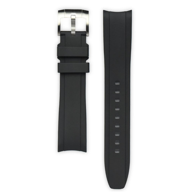 EVEREST CURVED END RUBBER STRAP FOR ROLEX SUBMARINER CERAMIC NO-DATE WITH TANG BUCKLE