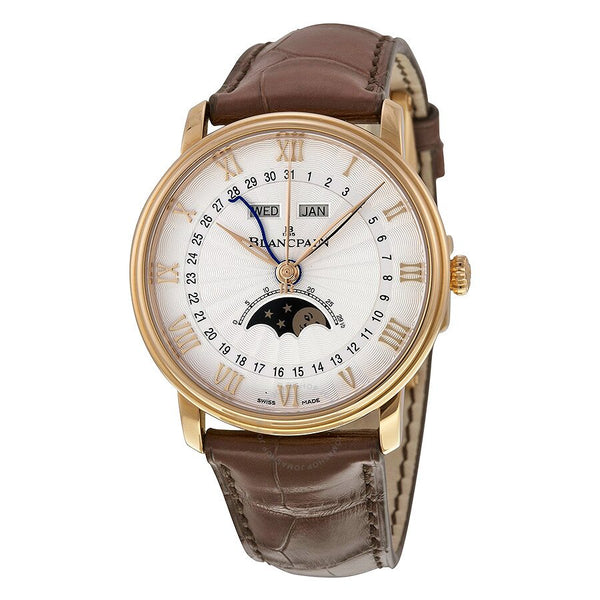 Blancpain Villeret Moonphase & Complete Calendar Automatic Oplaine Dial Brown Leather Men's Watch 6664-3642-55B