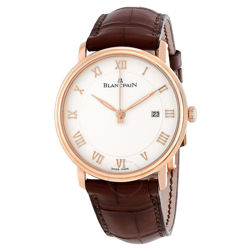 Blancpain Villeret White Dial 18kt Rose Gold Brown Leather Men's Watch 6651-3642-55B