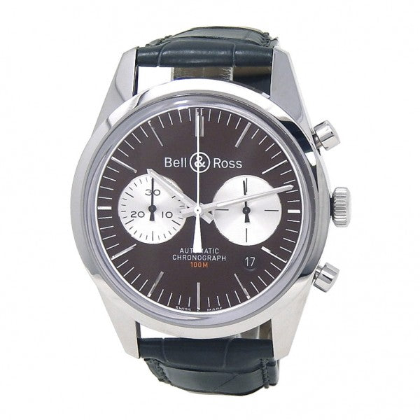 Bell & Ross Vintage Officer Stainless Steel Automatic Watch BRG126-BRN-ST/SCRS - ChronoNation
