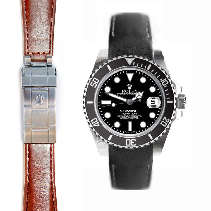 EVEREST CURVED END LEATHER STRAP FOR ROLEX SUBMARINER CERAMIC DEPLOYANT