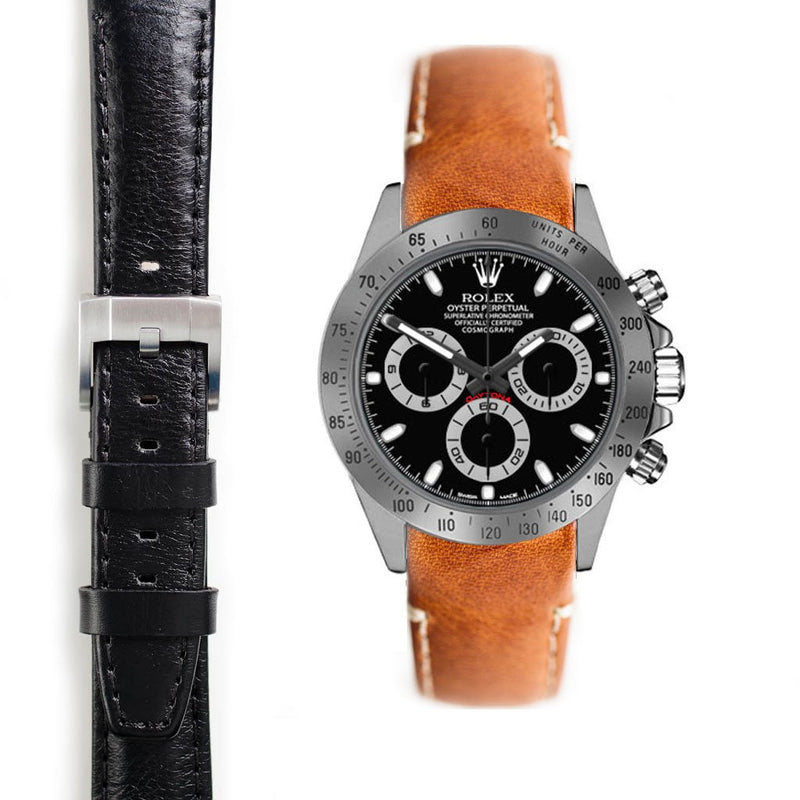 EVEREST CURVED END LEATHER STRAP FOR ROLEX DAYTONA WITH TANG BUCKLE - ChronoNation