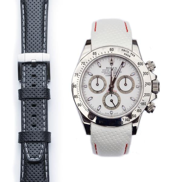 EVEREST CURVED END RACING LEATHER STRAP FOR ROLEX DAYTONA WITH TANG BUCKLE - ChronoNation