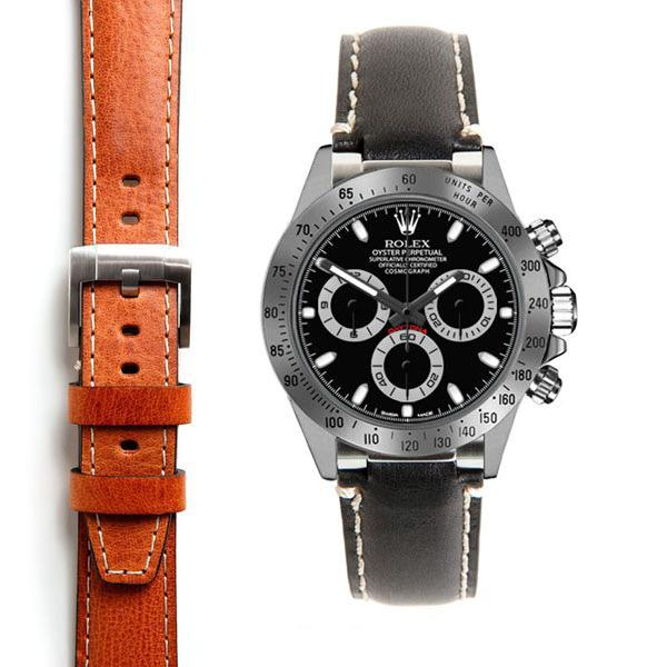 EVEREST CURVED END LEATHER STRAP FOR ROLEX DAYTONA WITH TANG BUCKLE