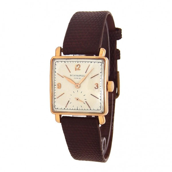 Patek Philippe Vintage Square 18K Rose Gold Mechanical Ladies Watch - ChronoNation