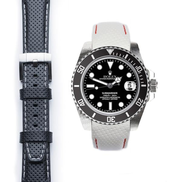 EVEREST CURVED END RACING LEATHER STRAP TANG BUCKLE ROLEX SUBMARINER