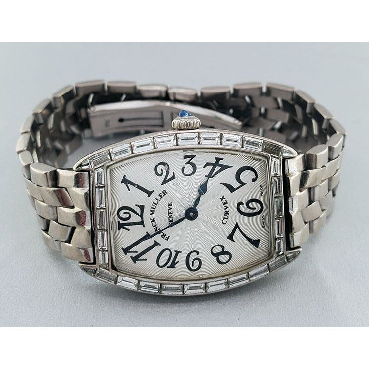 Franck Muller Cintree Curvex 24mmx34mm 1752 QZ BAG 18K White Gold Unisex Watch