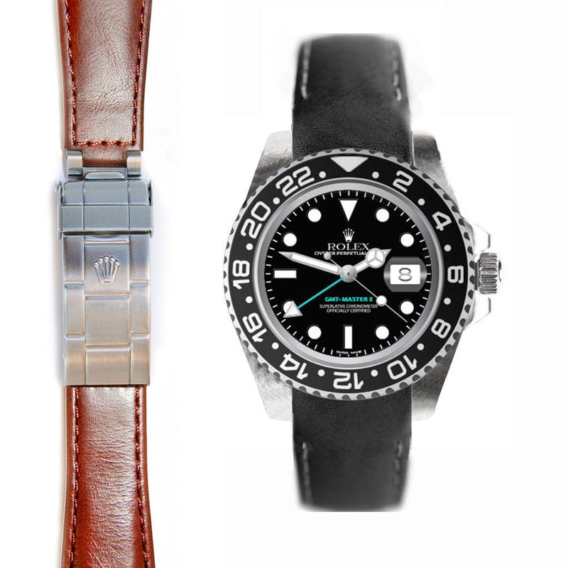 EVEREST CURVED END LEATHER ROLEX GMT CERAMIC DEPLOYANT BUCKLE