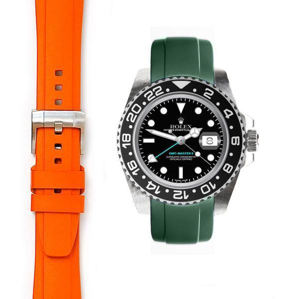 EVEREST CURVED END RUBBER STRAP FOR ROLEX GMT CERAMIC WITH TANG BUCKLE