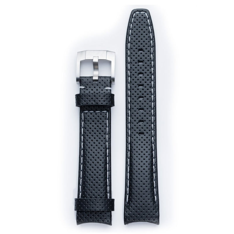 EVEREST CURVED END RACING LEATHER STRAP FOR ROLEX EXPLORER II WITH TANG BUCKLE