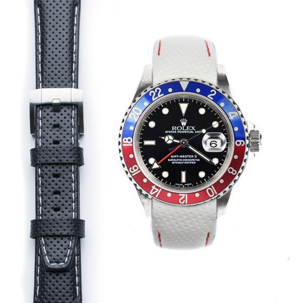 EVEREST CURVED END RACING LEATHER STRAP FOR ROLEX GMT MASTER I & II WITH TANG BUCKLE - ChronoNation