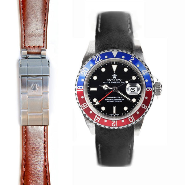 EVEREST CURVED END LEATHER STRAP FOR ROLEX GMT MASTER I & II DEPLOYANT - ChronoNation